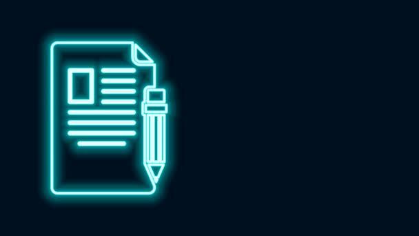 Leuchtende Leuchtschrift Prüfungsbogen und Bleistift mit Radiergummi-Symbol isoliert auf schwarzem Hintergrund. Prüfungsarbeit, Prüfungskonzept oder Umfragekonzept. Schultest oder Prüfung. 4K Video Motion Grafik Animation