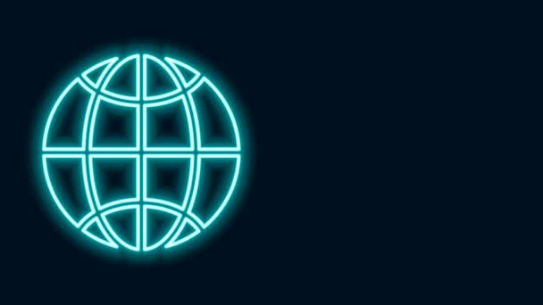 Zářící neonová linka Globální technologie nebo ikona sociální sítě izolované na černém pozadí. Grafická animace pohybu videa 4K
