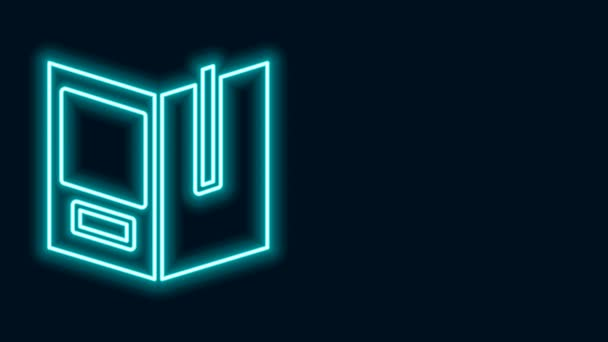 Glowing neon line Open book icon isolated on black background. 4K Video motion graphic animation