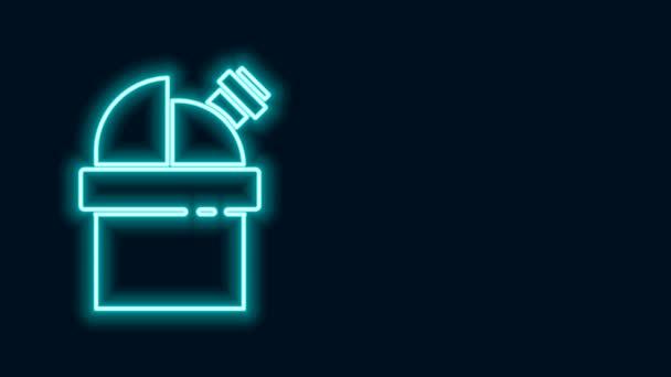 Ragyogó neon vonal Csillagászati csillagvizsgáló ikon elszigetelt fekete háttérrel. Obszervatórium teleszkóppal. Tudományos intézmény. 4K Videó mozgás grafikus animáció