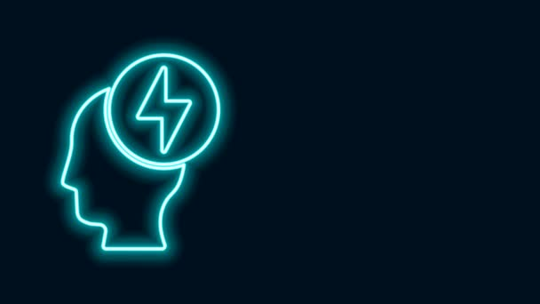 Zářící neonová čára Ikona lidské hlavy a elektrického symbolu izolovaná na černém pozadí. Grafická animace pohybu videa 4K