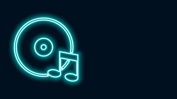 Glowing neon line Vinyl disk icon isolated on black background. 4K Video motion graphic animation