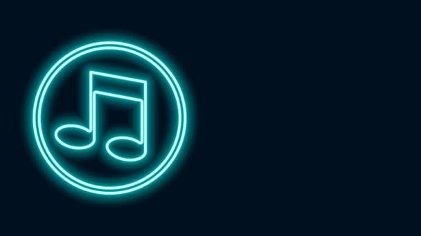Ragyogó neon vonal Zene hang, hang ikon elszigetelt fekete háttérrel. 4K Videó mozgás grafikus animáció