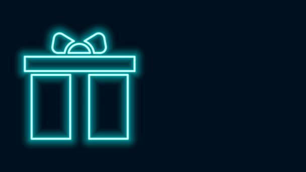 Zářící neonová čára Ikona dárkové krabice izolované na černém pozadí. Všechno nejlepší. Grafická animace pohybu videa 4K