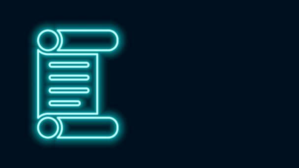 Zářící neonová čára Nařízení, papír, pergamen, ikona svitku izolované na černém pozadí. Grafická animace pohybu videa 4K