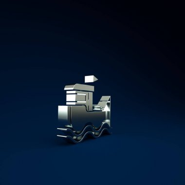 Silver Fishing boat with fishing rod on water icon isolated on blue background. Minimalism concept. 3d illustration 3D render.