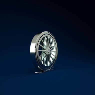Silver Bicycle wheel icon isolated on blue background. Bike race. Extreme sport. Sport equipment. Minimalism concept. 3d illustration 3D render.