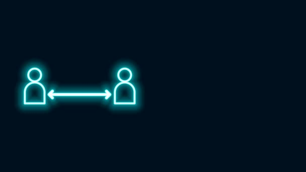 Glowing neon line Safe distance icon isolated on black background. Viruses and people keeping distance for infection risk. 4K Video motion graphic animation