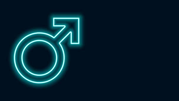 Ragyogó neon vonal Férfi nemi szimbólum ikon elszigetelt fekete háttérrel. 4K Videó mozgás grafikus animáció