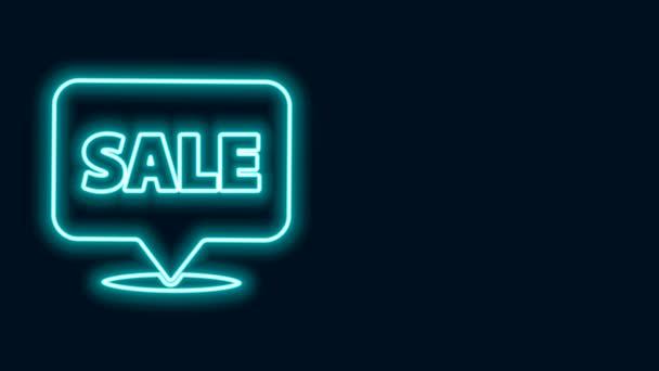 Zářící neonová čára Závěsná značka s textem Ikona prodeje izolovaná na černém pozadí. Nástěnka s textem Prodej. Grafická animace pohybu videa 4K
