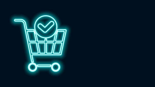 Zářící neonová čára Nákupní košík s ikonu zaškrtnutí izolované na černém pozadí. Koš v supermarketu se schváleným, potvrzením, provedením, zaškrtnutím, dokončen. Grafická animace pohybu videa 4K