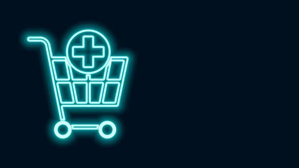 Žhnoucí neonová čára Přidat do nákupního košíku ikonu izolovanou na černém pozadí. Online nákupní koncept. Podpis doručovací služby. Symbol supermarketu. Grafická animace pohybu videa 4K