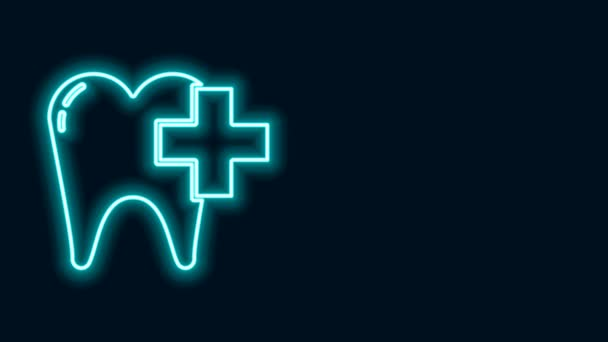 Glowing neon line Dental clinic for dental care tooth icon isolated on black background. 4K Video motion graphic animation