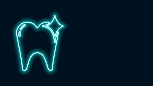 Leuchtende Neon-Linie Zahnweiß-Konzept Symbol isoliert auf schwarzem Hintergrund. Zahnsymbol für Zahnklinik oder Zahnarztpraxis. 4K Video Motion Grafik Animation