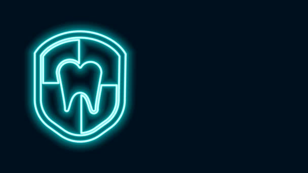 Glowing neon line Dental protection icon isolated on black background. Tooth on shield logo. 4K Video motion graphic animation