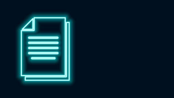 Leuchtende Leuchtschrift Dokument-Symbol isoliert auf schwarzem Hintergrund. Datei-Symbol. Checklisten-Symbol. Geschäftskonzept. 4K Video Motion Grafik Animation