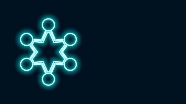Ragyogó neon vonal Rendőrségi jelvény ikon elszigetelt fekete háttérrel. Seriff jelvény. Pajzs csillag szimbólummal. 4K Videó mozgás grafikus animáció