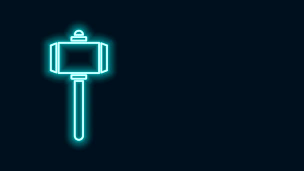 Glowing neon line Battle hammer icon isolated on black background. 4K Video motion graphic animation
