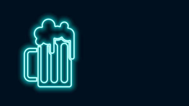 Ragyogó neon vonal Wooden sör bögre ikon elszigetelt fekete háttérrel. 4K Videó mozgás grafikus animáció