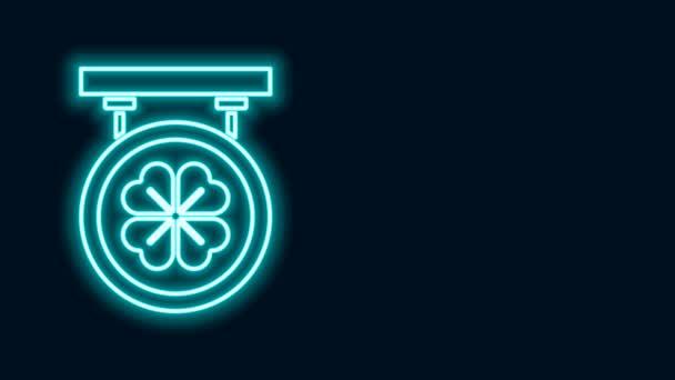 Zářící neonová čára Ulice se čtyřmi listy jetele ikony izolované na černém pozadí. Vhodné pro reklamní bar, kavárnu, hospodu. Grafická animace pohybu videa 4K