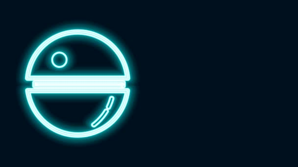Glowing neon line Death star icon isolated on black background. 4K Video motion graphic animation