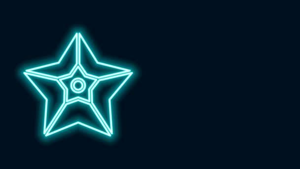 Ragyogó neon vonal karácsonyi csillag ikon elszigetelt fekete háttérrel. Boldog karácsonyt és boldog új évet! 4K Videó mozgás grafikus animáció