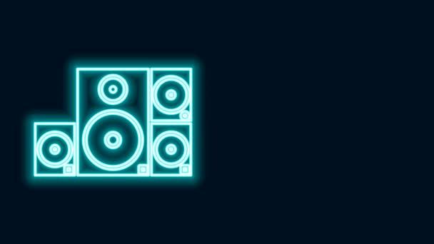 Zářící neonová čára Ikona reproduktoru Stereo izolovaná na černém pozadí. Reproduktory zvukového systému. Hudební ikona. Hudební sloupek reproduktor basové vybavení. Grafická animace pohybu videa 4K