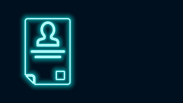 Világító neon vonal Azonosító jelvény ikon elszigetelt fekete alapon. Használható bemutatásra, a cég személyazonosságára, reklámozásra. 4K Videó mozgás grafikus animáció