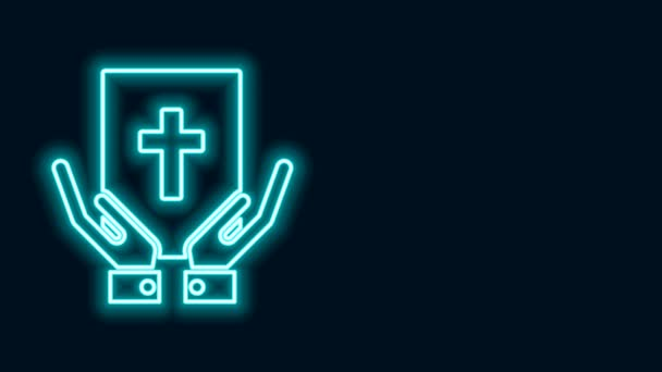 Glowing neon line Oath on the Holy Bible icon isolated on black background. The procedure in court. Truth and truth. Promise before god. 4K Video motion graphic animation