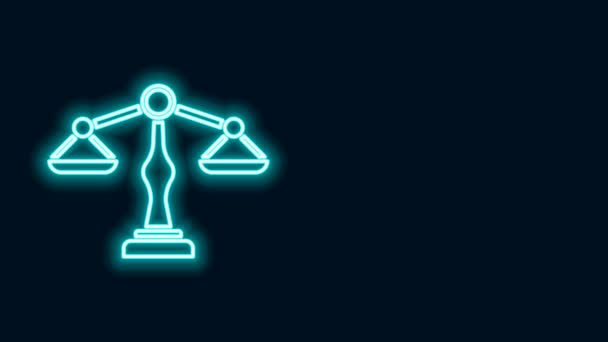 Glowing neon line Scales of justice icon isolated on black background. Court of law symbol. Balance scale sign. 4K Video motion graphic animation
