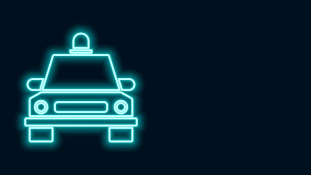 Glowing neon line Taxi car icon isolated on black background. 4K Video motion graphic animation