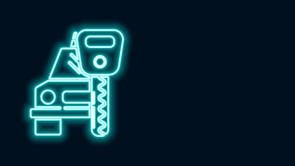 Glowing neon line Car rental icon isolated on black background. Rent a car sign. Key with car. Concept for automobile repair service. 4K Video motion graphic animation
