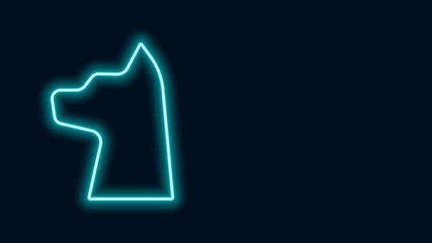 Ragyogó neon vonal Cat ikon elszigetelt fekete háttér. 4K Videó mozgás grafikus animáció