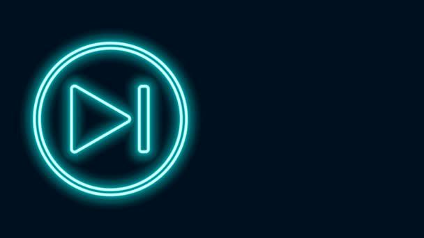 Zářící neonová čára Rychlá přední ikona izolovaná na černém pozadí. Grafická animace pohybu videa 4K