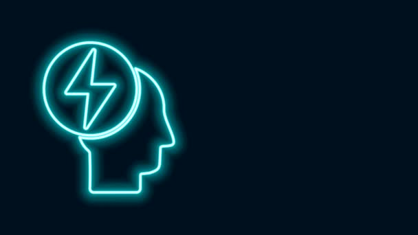 Glowing neon line Head and electric symbol icon isolated on black background. 4K Video motion graphic animation
