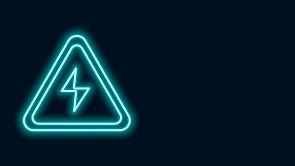 Glowing neon line High voltage sign icon isolated on black background. Danger symbol. Arrow in triangle. Warning icon. 4K Video motion graphic animation