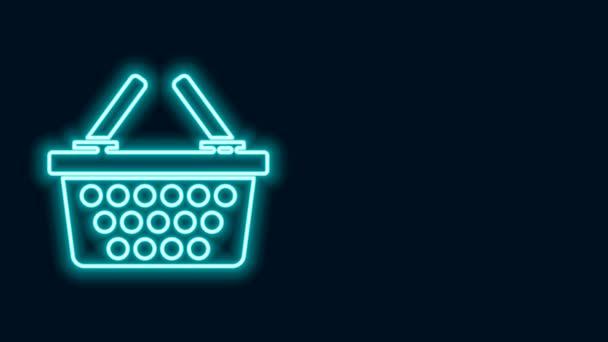 Zářící neonová čára Nákupní košík ikona izolované na černém pozadí. Online nákupní koncept. Podpis doručovací služby. Symbol nákupního košíku. Grafická animace pohybu videa 4K
