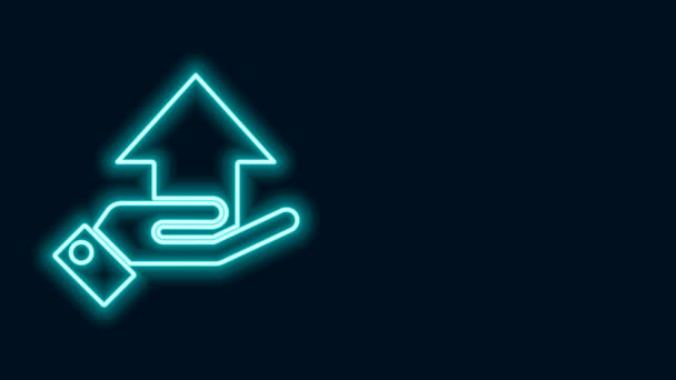 Glowing neon line Money on hand icon isolated on black background. Palm holds cash with arrow up. Cash salary increase. Rising prices. 4K Video motion graphic animation