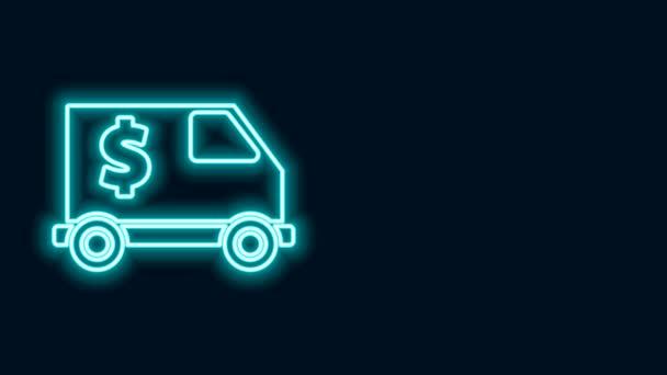 Žhnoucí neonová linie Obrněný vůz ikona izolované na černém pozadí. Grafická animace pohybu videa 4K