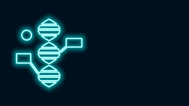 Glowing neon line DNA symbol icon isolated on black background. 4K Video motion graphic animation
