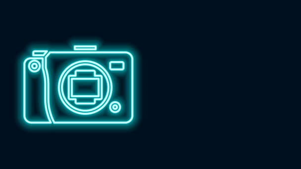 Zářící neonová čára Ikona bezzrcadlové kamery izolovaná na černém pozadí. Ikona fotoaparátu. Grafická animace pohybu videa 4K