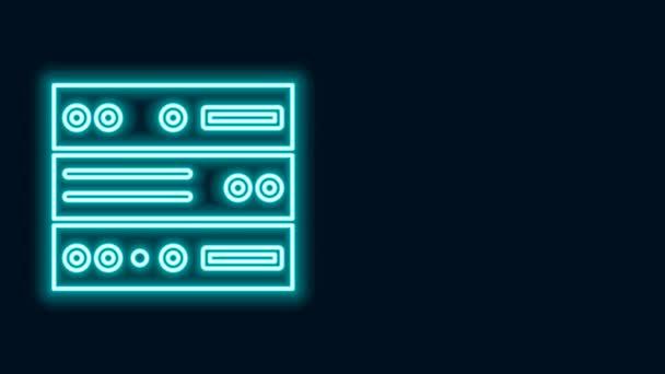 Leuchtende Leuchtschrift Server, Daten, Web-Hosting-Symbol isoliert auf schwarzem Hintergrund. 4K Video Motion Grafik Animation