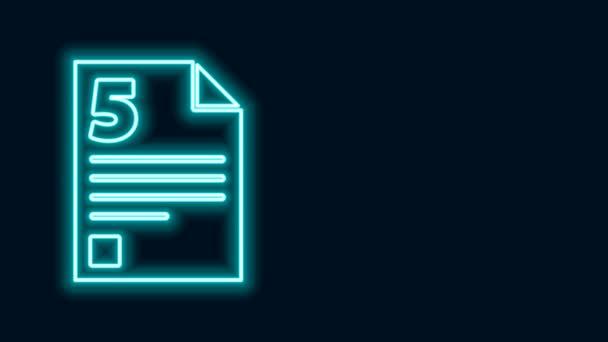 Leuchtende Leuchtschrift Test- oder Prüfungsblatt-Symbol isoliert auf schwarzem Hintergrund. Prüfungsarbeit, Prüfungskonzept oder Umfragekonzept. 4K Video Motion Grafik Animation