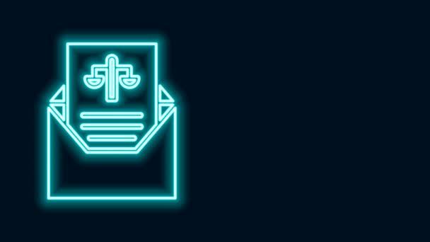 Zářící neonová čára Ikona Subpoena izolovaná na černém pozadí. Zatykač, policejní hlášení, předvolání. Spravedlnost. Grafická animace pohybu videa 4K