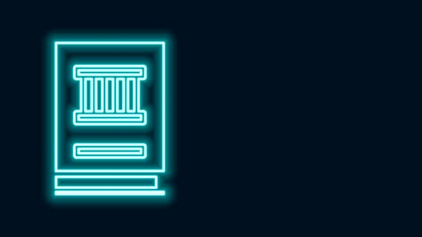 Glowing neon line Law book icon isolated on black background. Legal judge book. Judgment concept. 4K Video motion graphic animation
