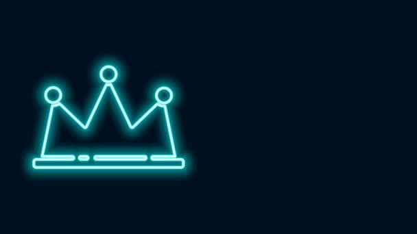 Zářící neonová čára Ikona koruny izolovaná na černém pozadí. Grafická animace pohybu videa 4K