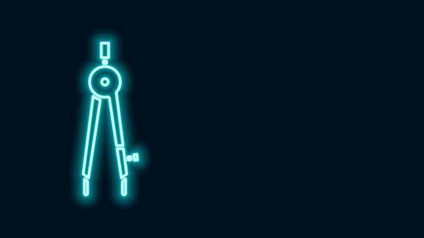 Ragyogó neon vonal Rajzoló iránytű ikon elszigetelt fekete háttérrel. Compass jel. Rajzoló és oktatási eszközök. Geometrikus műszer. 4K Videó mozgás grafikus animáció