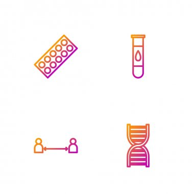 Set line DNA symbol, Safe distance, Pills in blister pack and Blood test and virus. Gradient color icons. Vector. icon