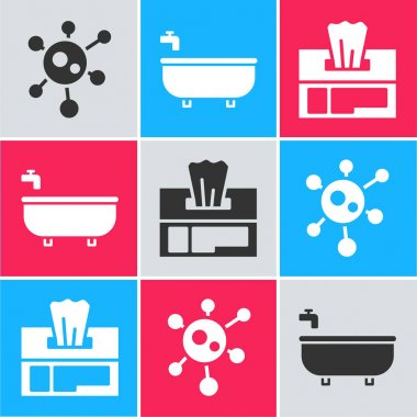 Set Virus, Bathtub and Wet wipe pack icon. Vector. icon