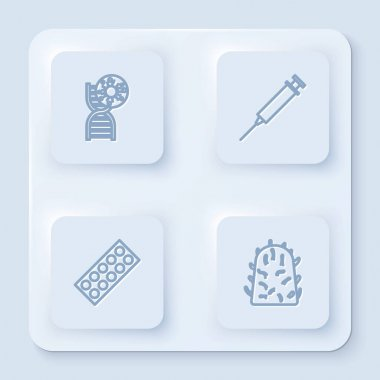 Set line DNA symbol and virus, Syringe, Pills blister pack and Rabies. White square button. Vector. icon